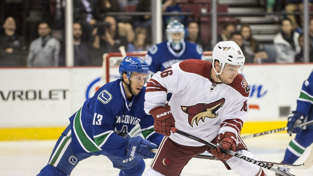 Max Domi has his eyes on the prize—a coveted roster spot as a rookie—in Arizona. (Photograph by Christopher J. Morris)
