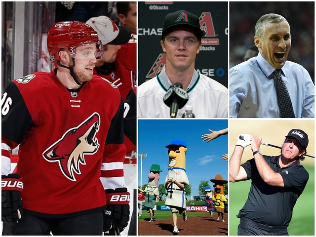 Clockwise from left: Max Domi, Zack Greinke, Bobby Hurley, Phil Mickelson, Cactus League. (Getty Images)